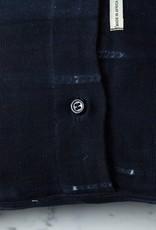 "TENSIRA 16 x 16"" - Handwoven Cotton Pillow with Down Insert - Button Closure - Black Delicate Stitch Dye Stripe"