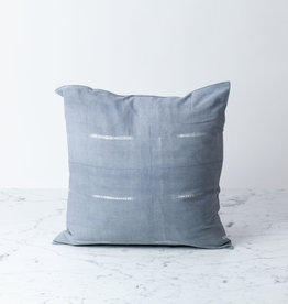 "TENSIRA 16 x 16"" - Handwoven Cotton Pillow with Down Insert - Button Closure - Grey Delicate Stitch Dye Stripe"