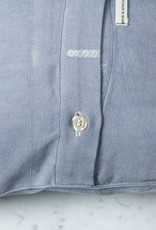 "TENSIRA 16 x 16"" - Handwoven Cotton Pillow with Down Insert - Button Closure - Grey Delicate Stitch Dye Stripe"