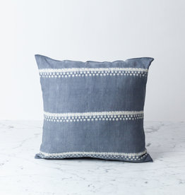 "TENSIRA 16 x 16"" - Handwoven Cotton Pillow with Down Insert - Button Closure - Grey Spotty Stitch Dye Stripes"