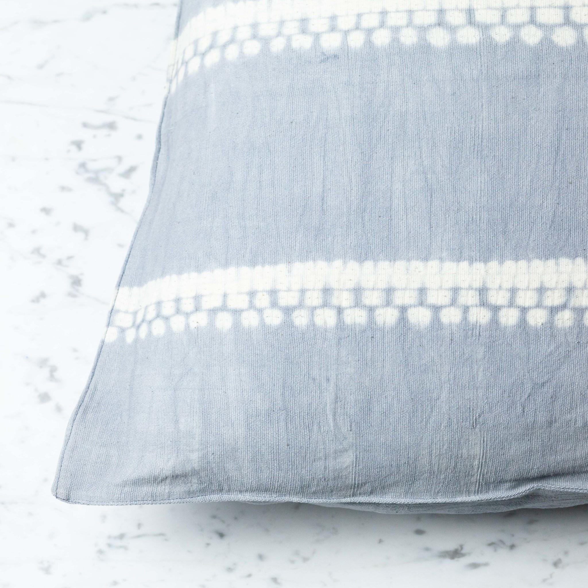"TENSIRA 16 x 16"" - Handwoven Cotton Pillow with Down Insert - Button Closure - Grey Spotty Stitch Dye Stripes"