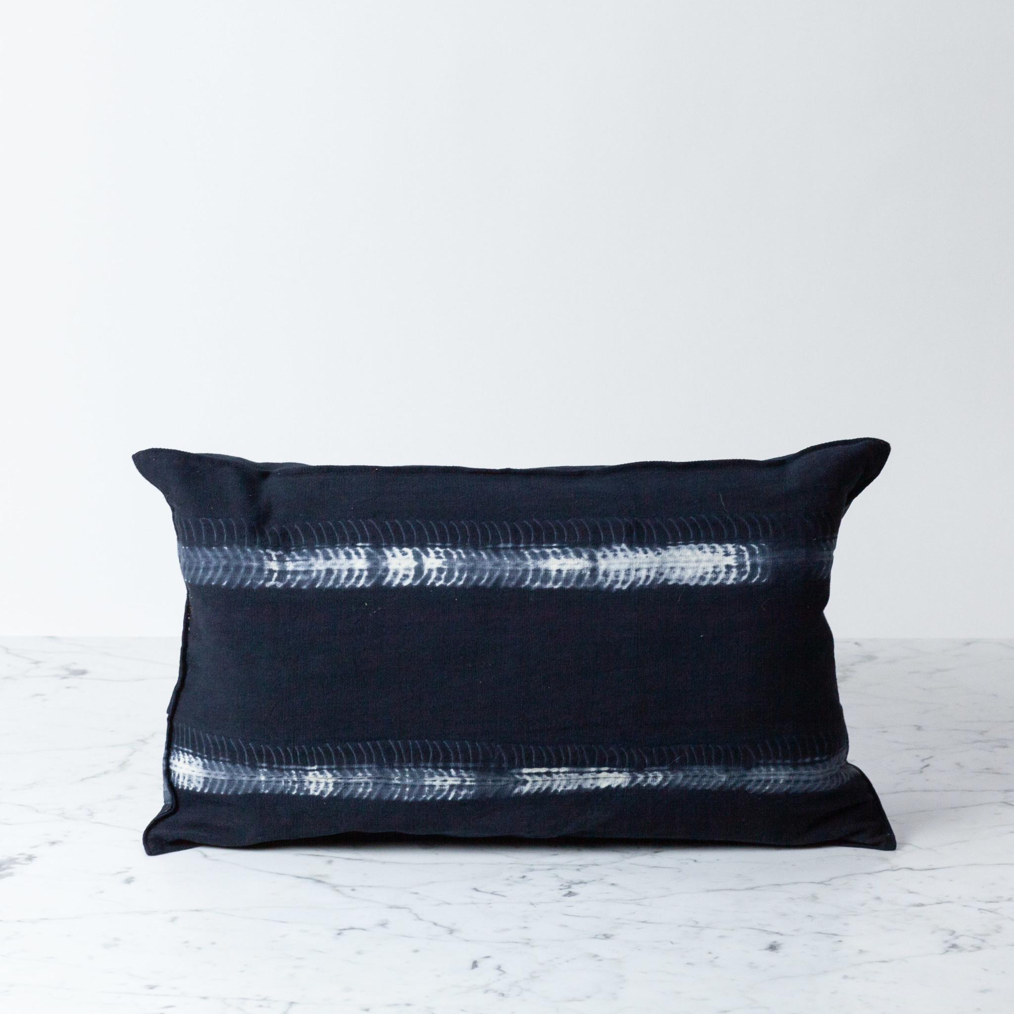 "TENSIRA 12 x 20"" Handwoven Cotton Pillow with Down Insert - Button Closure - Black Fish Bone Stitch Dye Stripes"