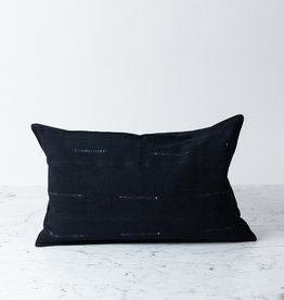 "TENSIRA 12 x 20"" Handwoven Cotton Pillow with Down Insert - Button Closure - Black Delicate Stitch Dye Stripe"