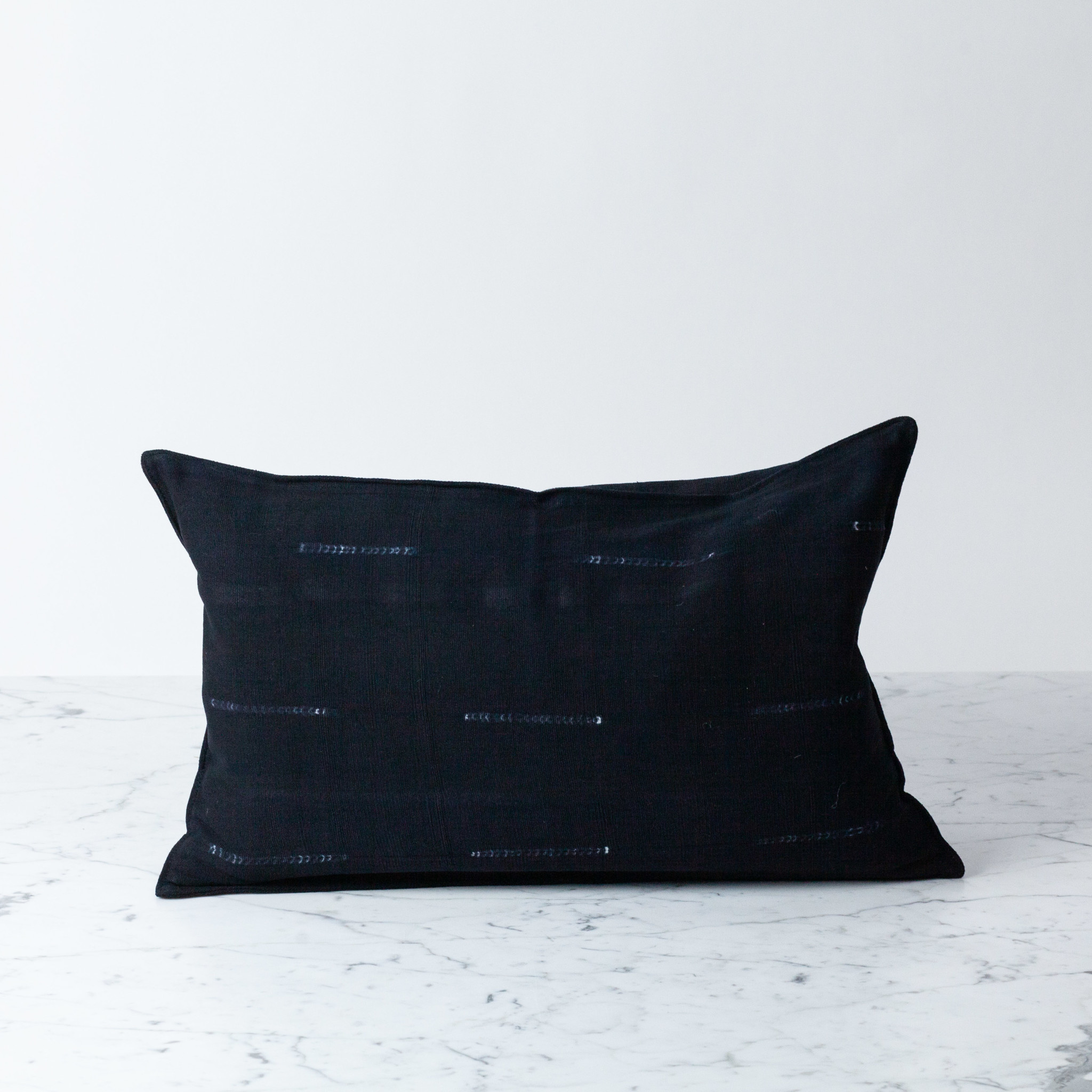 "TENSIRA 12 x 20"" Handwoven Cotton Pillow with Down Insert - Button Closure - Black Delicate Stitch Dye Stripe"