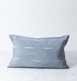 "TENSIRA 12 x 20"" Handwoven Cotton Pillow with Down Insert - Button Closure - Grey Delicate Stitch Dye Stripe"