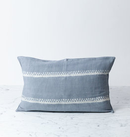 "TENSIRA 12 x 20"" Handwoven Cotton Pillow with Down Insert - Button Closure - Grey Spotty Stitch Dye Stripes"