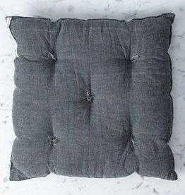 "TENSIRA Handwoven Cotton Chair Cushion - Off White + Black Skinny Stripe - 16"""