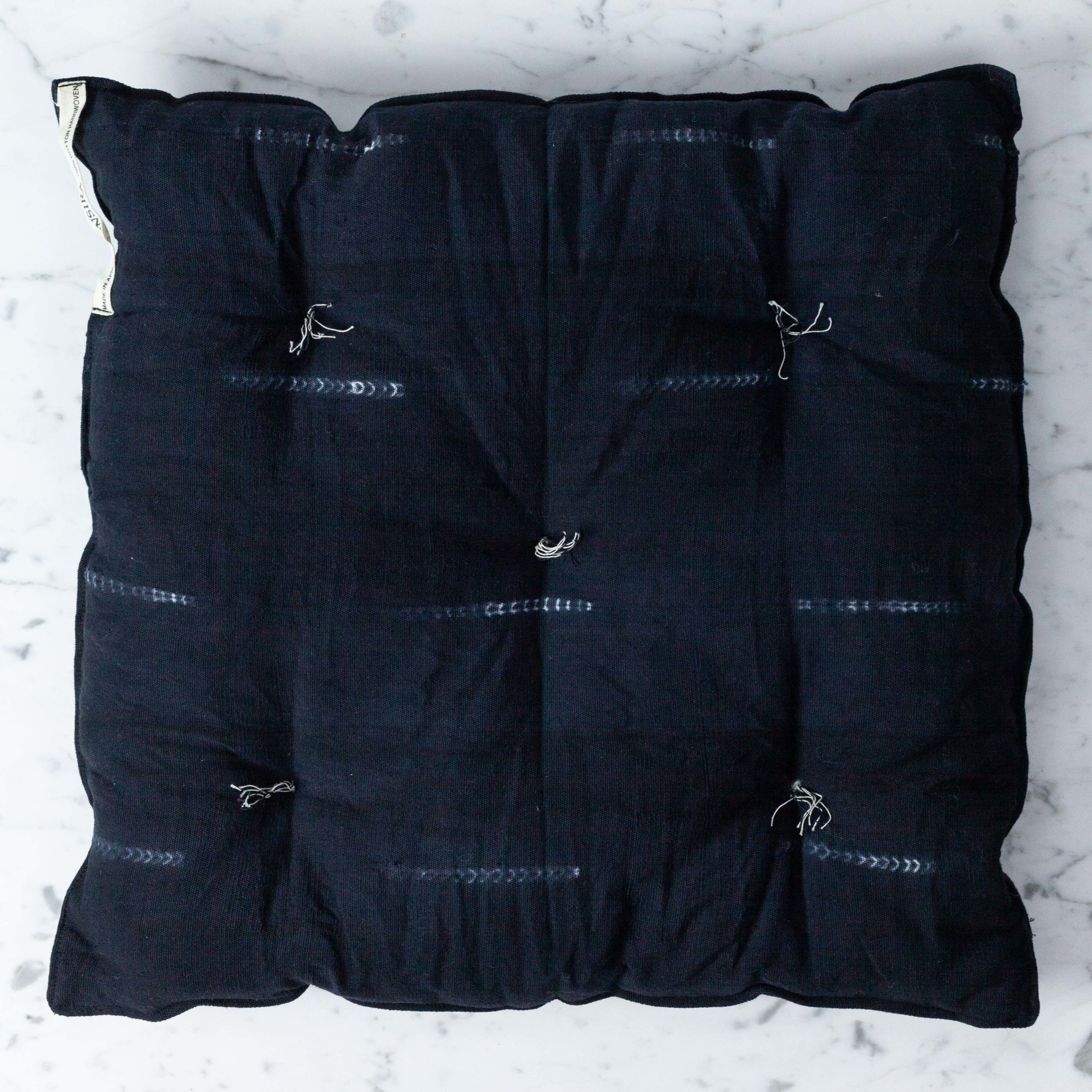 """TENSIRA Handwoven Cotton Chair Cushion - Black Delicate Stitch Dye Stripe - 16"""""""