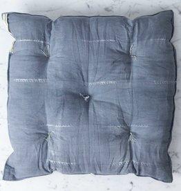 """TENSIRA Handwoven Cotton Chair Cushion - Grey Delicate Stitch Dye Stripe - 16"""""""