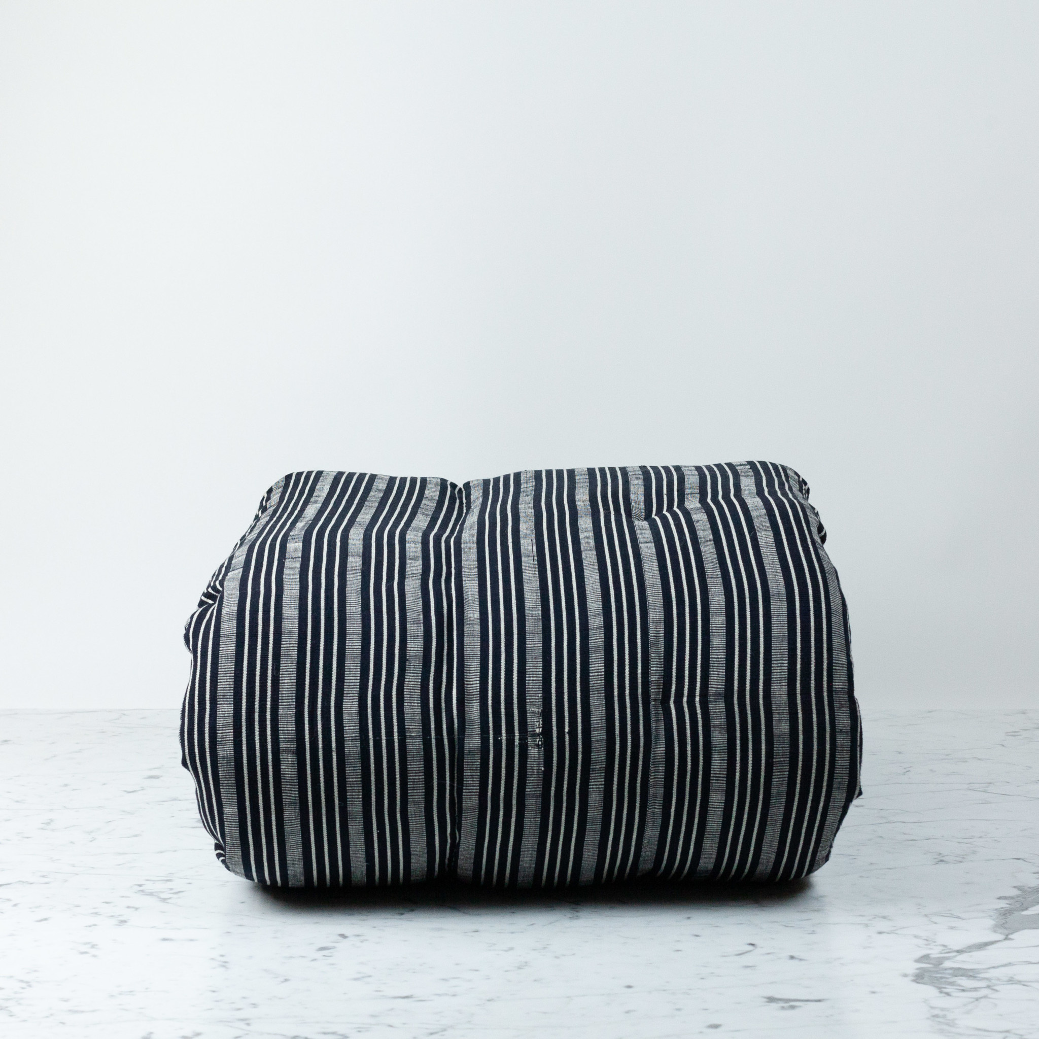 "TENSIRA 40 x 75"" - Handwoven Cotton Twin Size Bedroll - Black + Off White Thick Stripe"