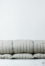 "TENSIRA 40 x 75"" - Handwoven Cotton Twin Size Bedroll - Off White + Black Thick Stripe"