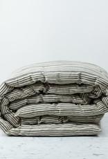 "TENSIRA 30 x 80"" - Handwoven Cotton Cot Mattress with Kapok Filling - Off White + Black Thick Stripe"