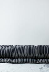 "TENSIRA 30 x 80"" - Handwoven Cotton Cot Mattress with Kapok Filling - Black + Off White Thick Stripe"