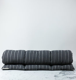 "TENSIRA 30 x 80"" - Handwoven Cotton Cot Mattress with Kapok Filling - Black + Off White Thick Stripe"