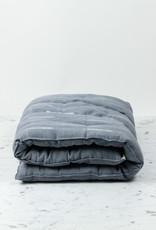 """TENSIRA 24 x 48"""" - Handwoven Cotton Slim Cushion - Kapok Filling - Grey Delicate Stitch Dye Stripe"""