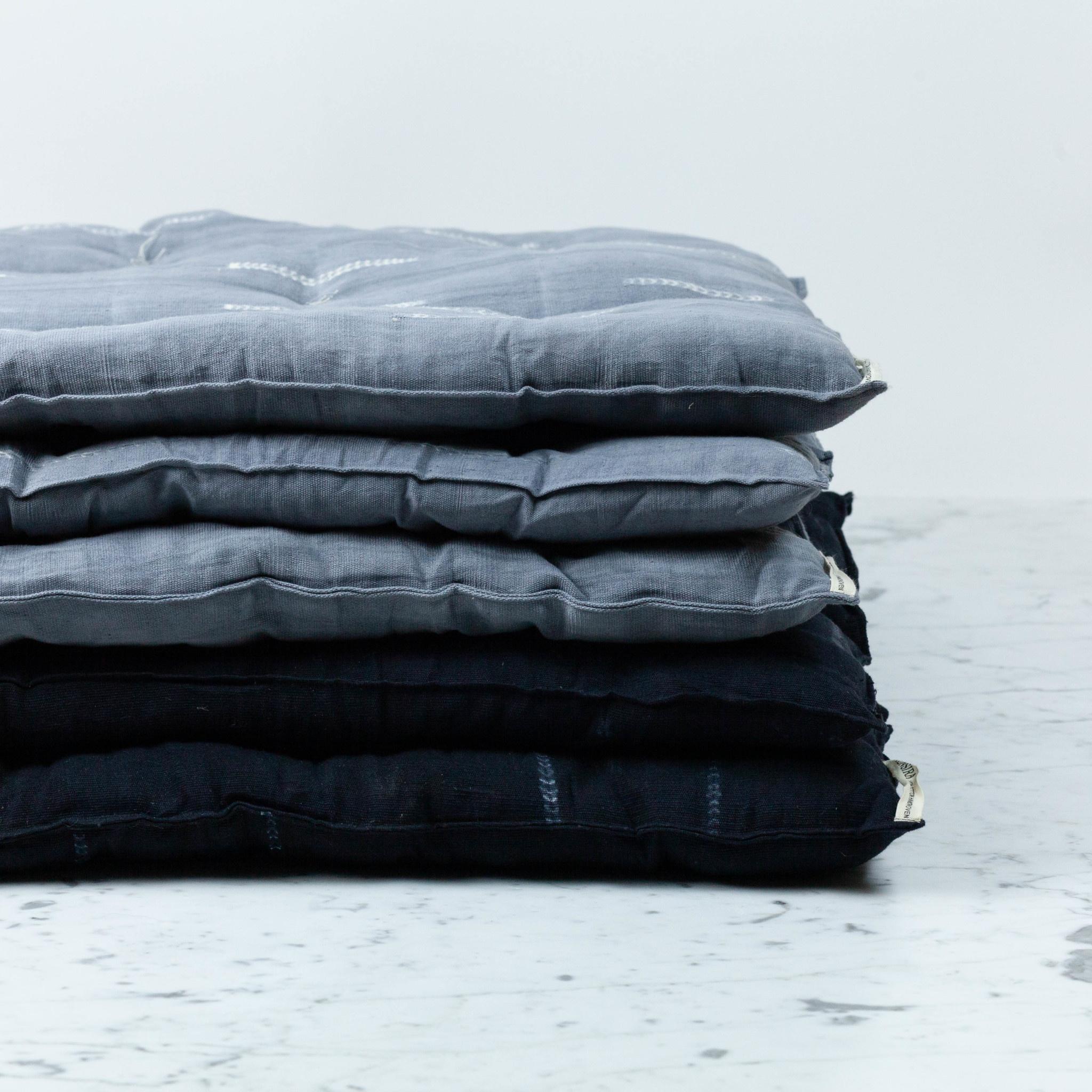 """TENSIRA 24 x 48"""" - Handwoven Cotton Slim Cushion - Kapok Filling - Black Delicate Stitch Dye Stripe"""