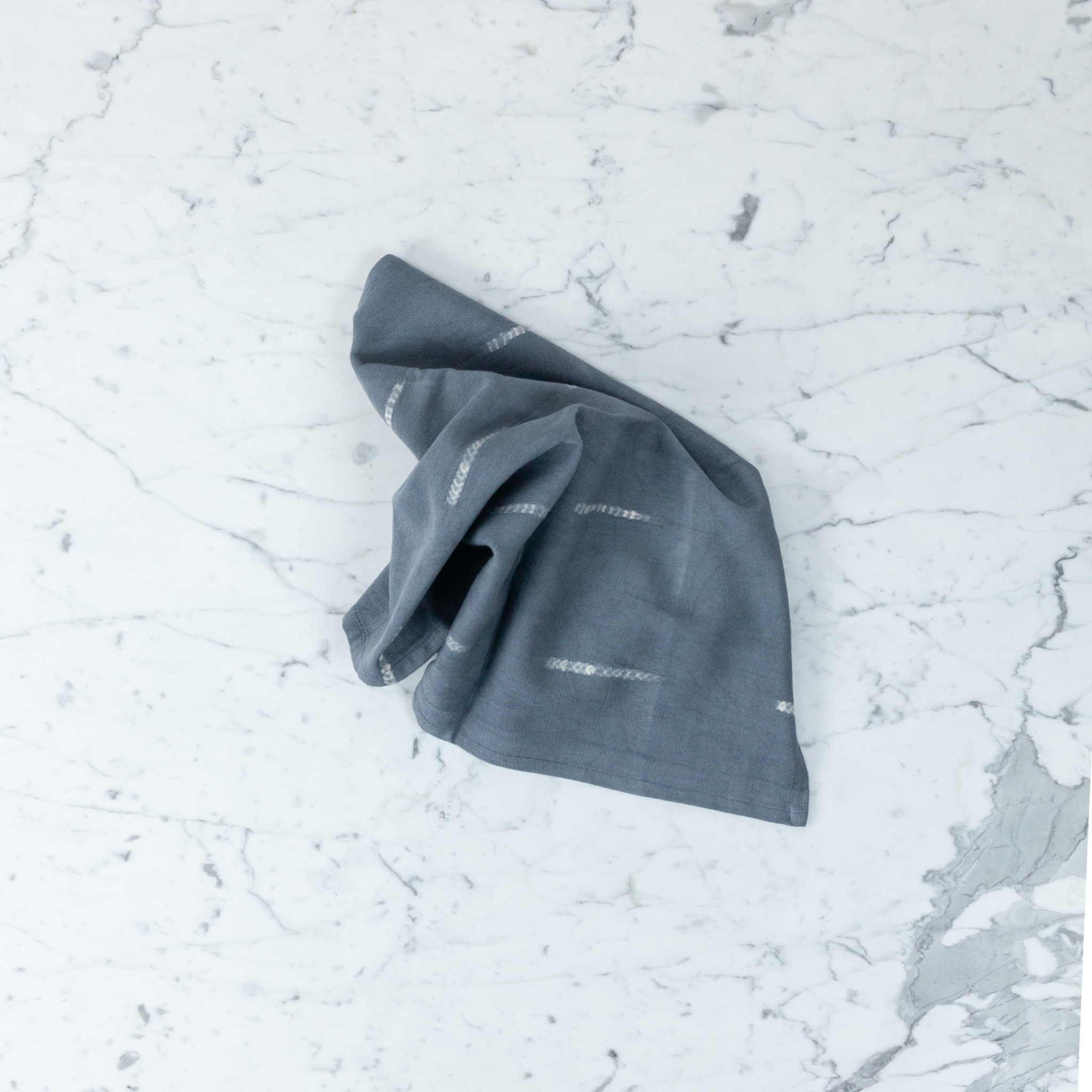 "TENSIRA Handwoven Cotton Napkin - Grey Delicate Stitch Dye Stripe - 19"""