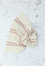TENSIRA Handwoven Cotton Napkin - Off White with Double Red Stripe - 19""