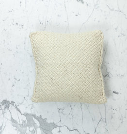 "15"" Handwoven Tapia Pillow with Down Insert - Natural Wool - Cream"
