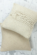 """15"""" Handwoven Tapia Pillow with Down Insert - Natural Wool - Cream"""