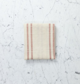 TENSIRA Handwoven Cotton Kitchen Towel - Off White with Double Red Stripe - 20 x 28""