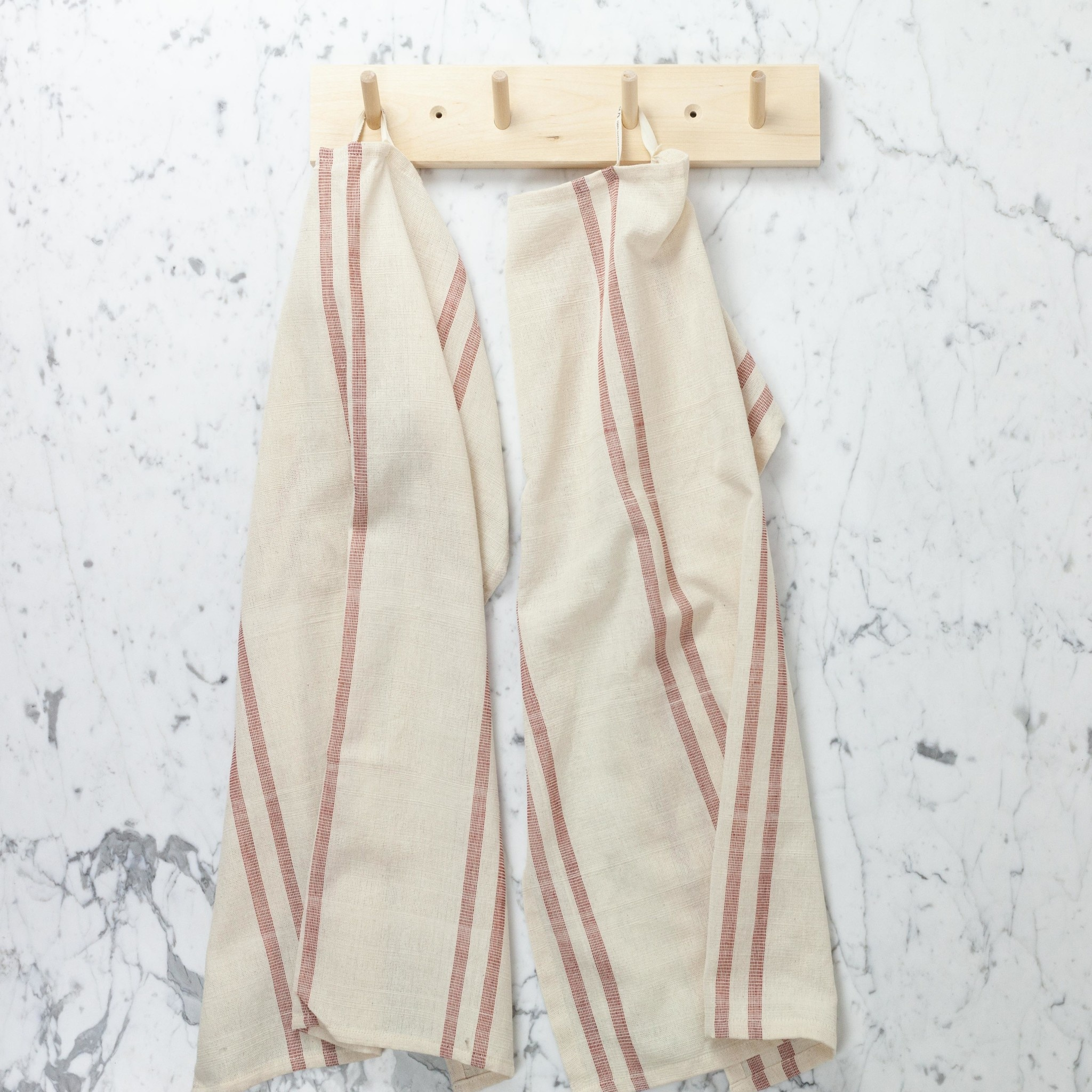 """TENSIRA Handwoven Cotton Kitchen Towel - Off White with Double Red Stripe - 20 x 28"""""""