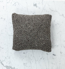 "15"" Handwoven Tapia Pillow with Down Insert - Natural Wool - Charcoal"