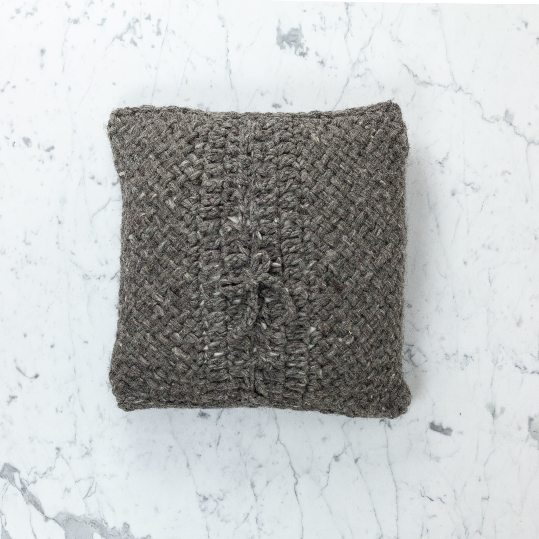 """15"""" Handwoven Tapia Pillow with Down Insert - Natural Wool - Charcoal"""