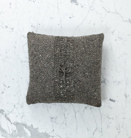"15"" Handwoven Loro Pillow with Down Insert - Natural Wool - Charcoal"