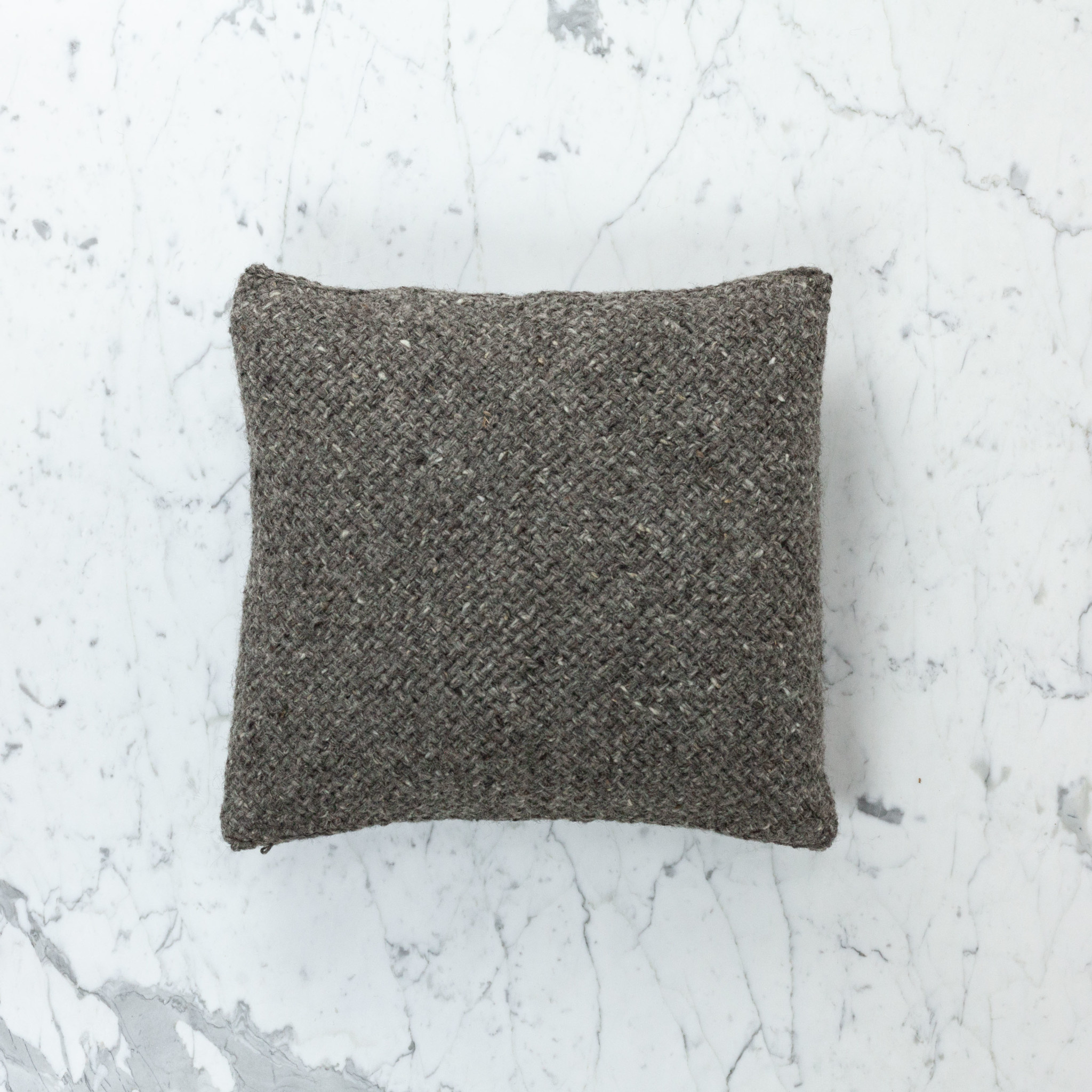 """15"""" Handwoven Loro Pillow with Down Insert - Natural Wool - Charcoal"""