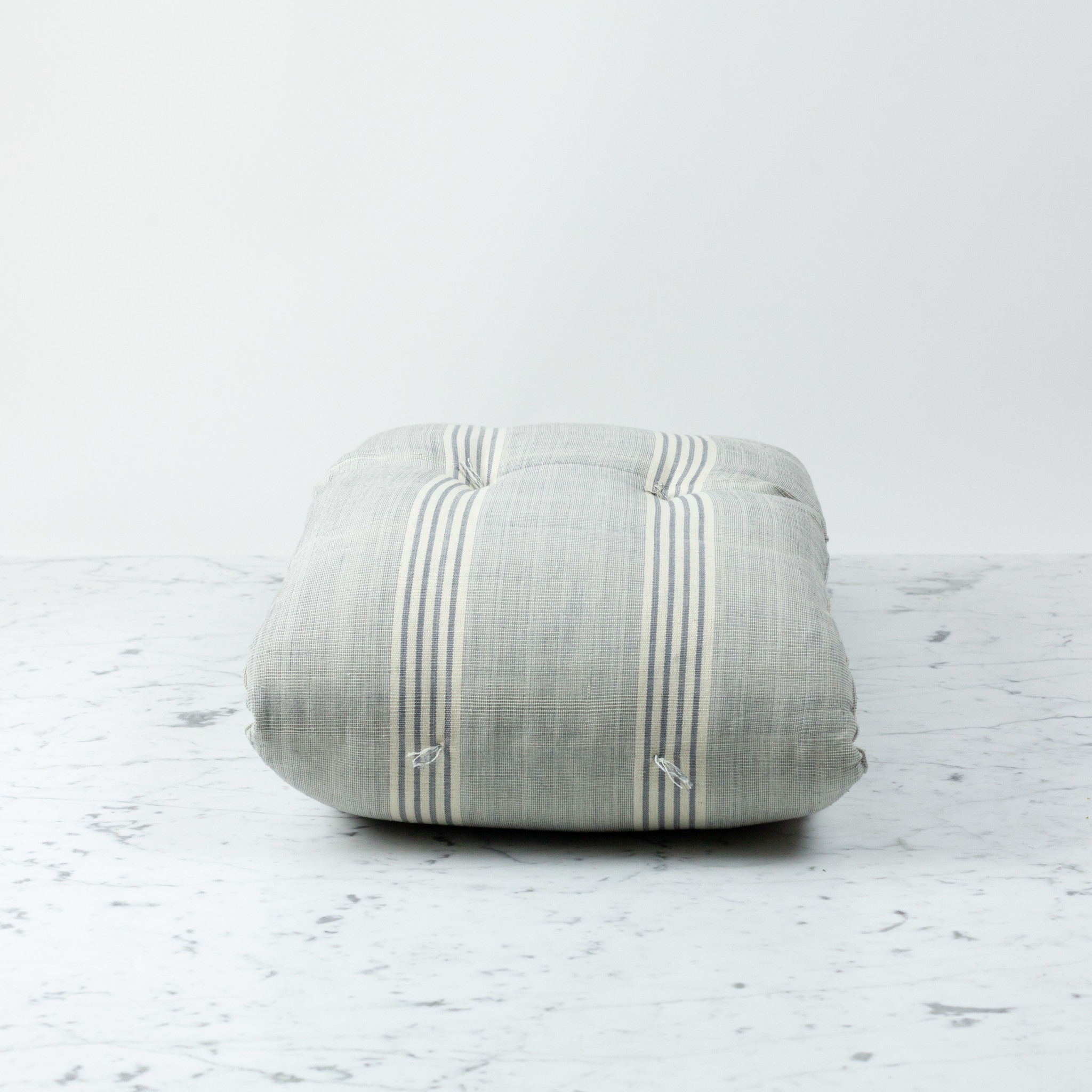 TENSIRA Custom Handwoven Cotton Cushion - Kapok Filling - Grey + White Thick Stripe - 55 x 14 inch