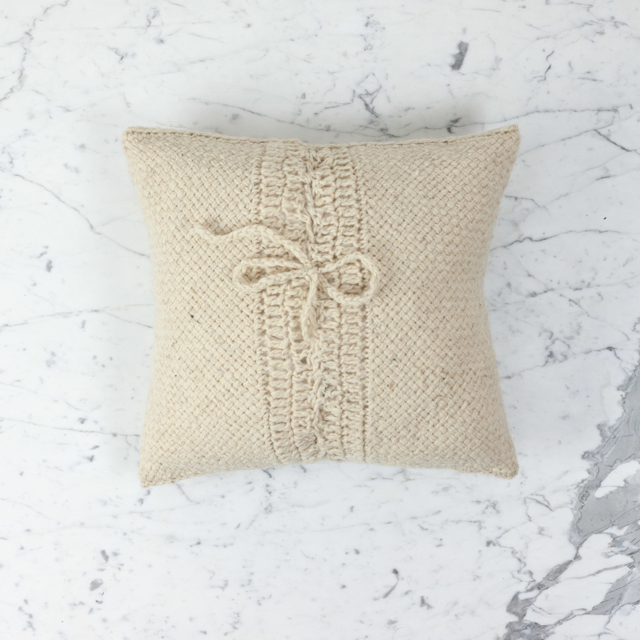 """15"""" Handwoven Loro Pillow with Down Insert - Natural Wool - Cream"""