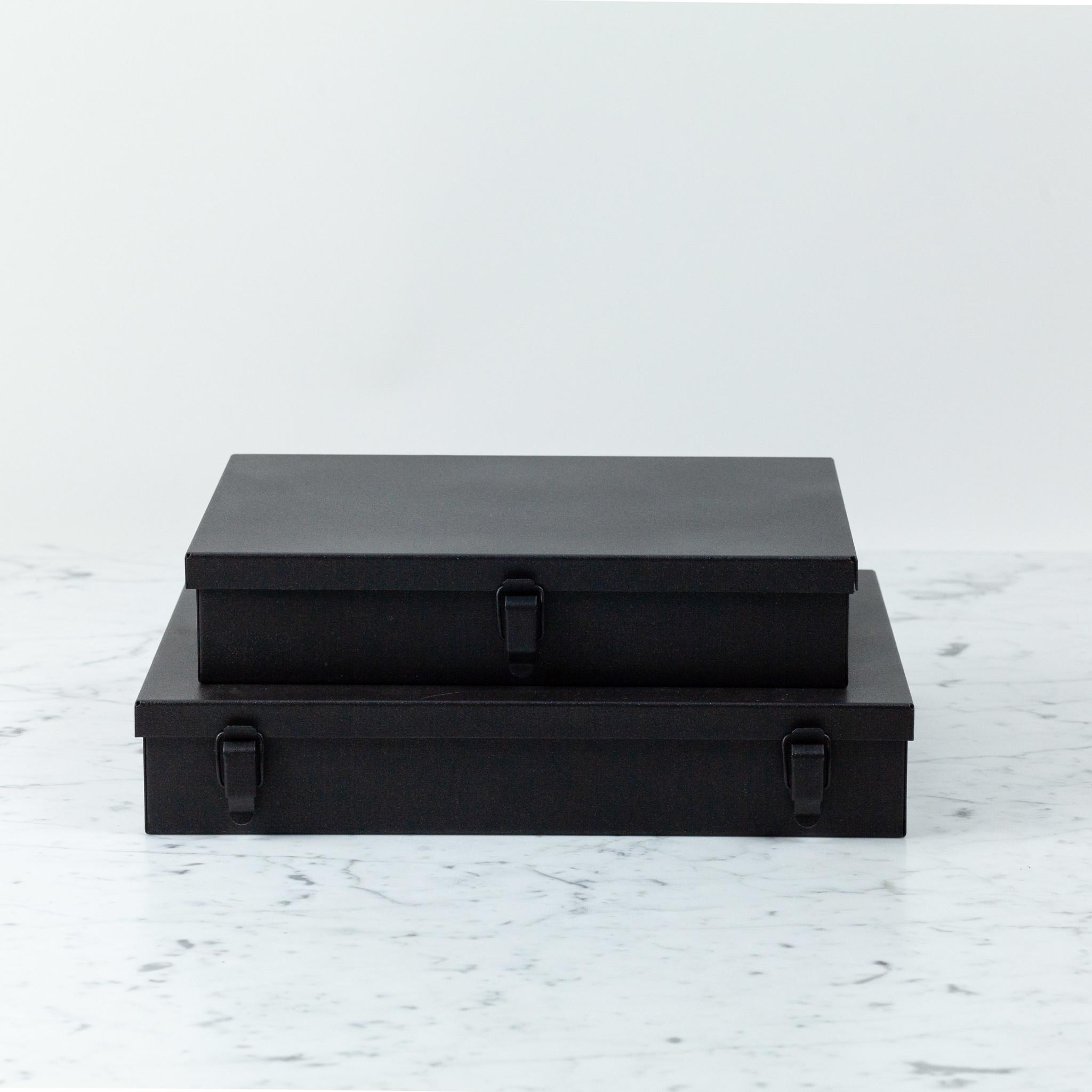 Italian Steel Storage Locker Box - Small - Tarmac Black