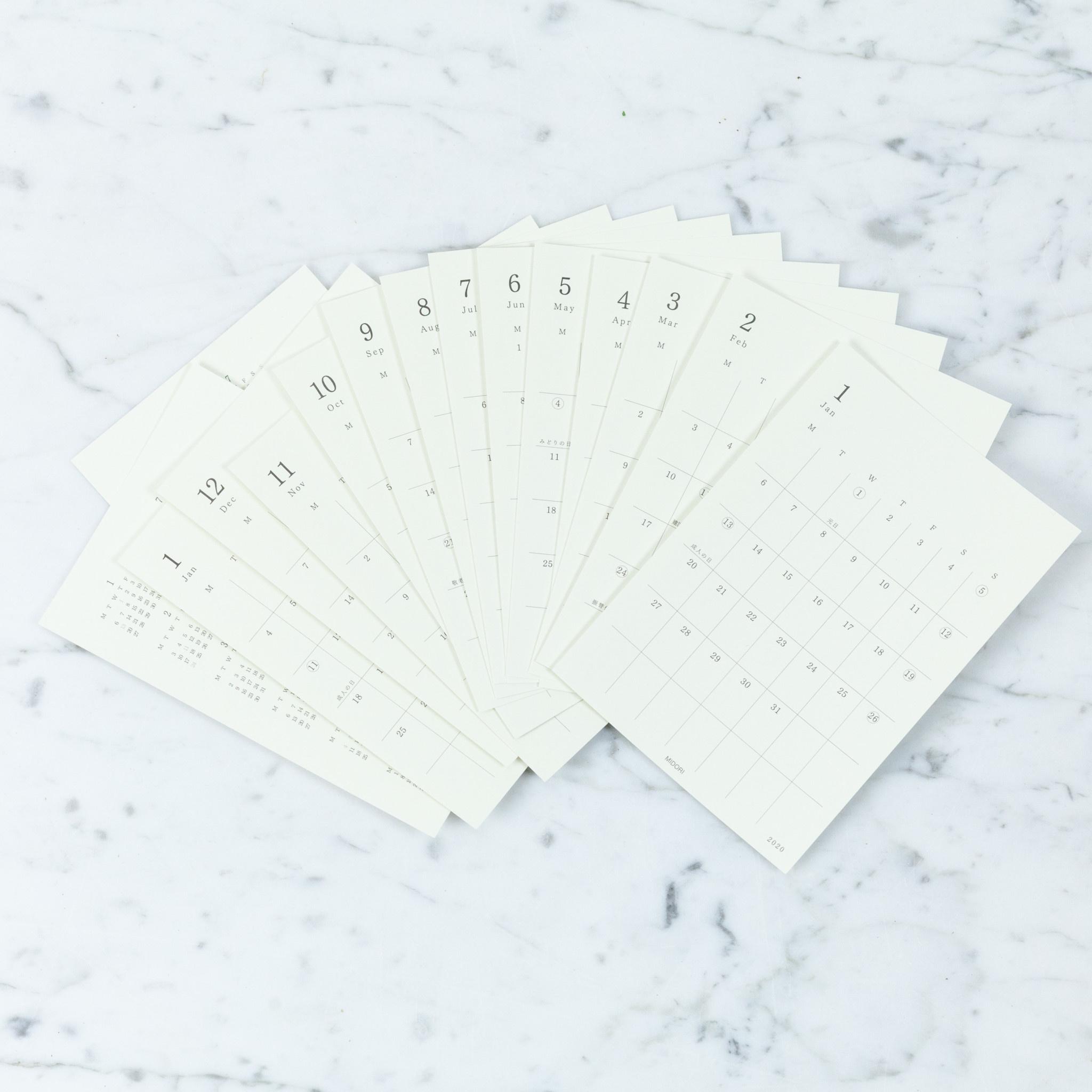Midori Simple Calendar Diary Sticker - 2020