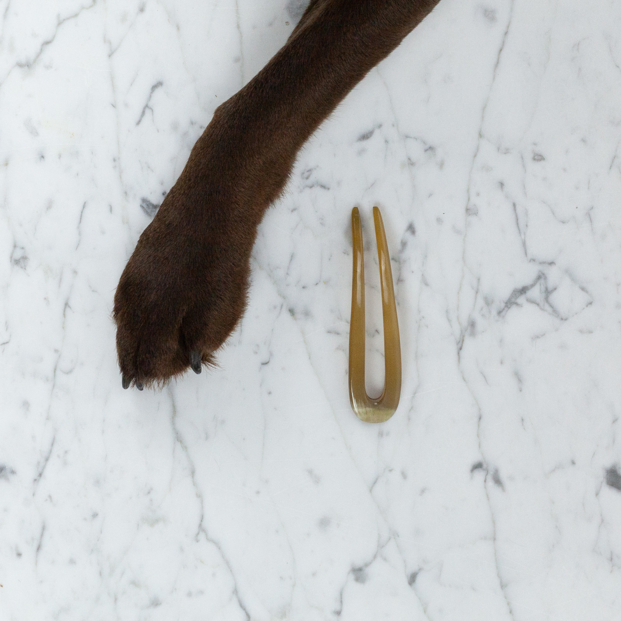 Danish Carved Horn  U-Shaped Hair Pin