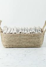 "Natural Jute Rectangular Storage Basket with Handles - 12 x 8 x 5"""