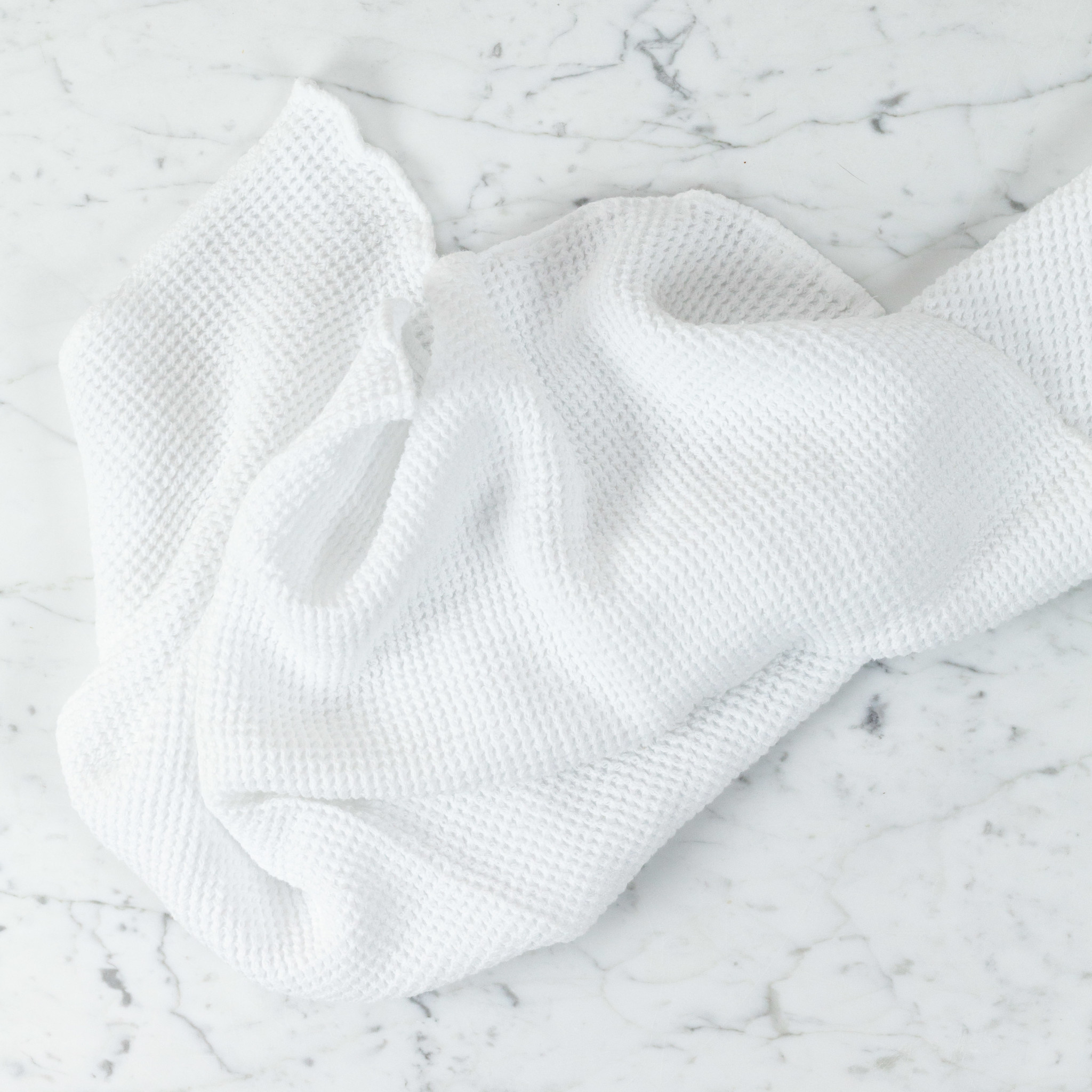 """Washed French Linen + Cotton Thermal Waffle Hand Towel - Optic White - 32"""" x 20"""""""
