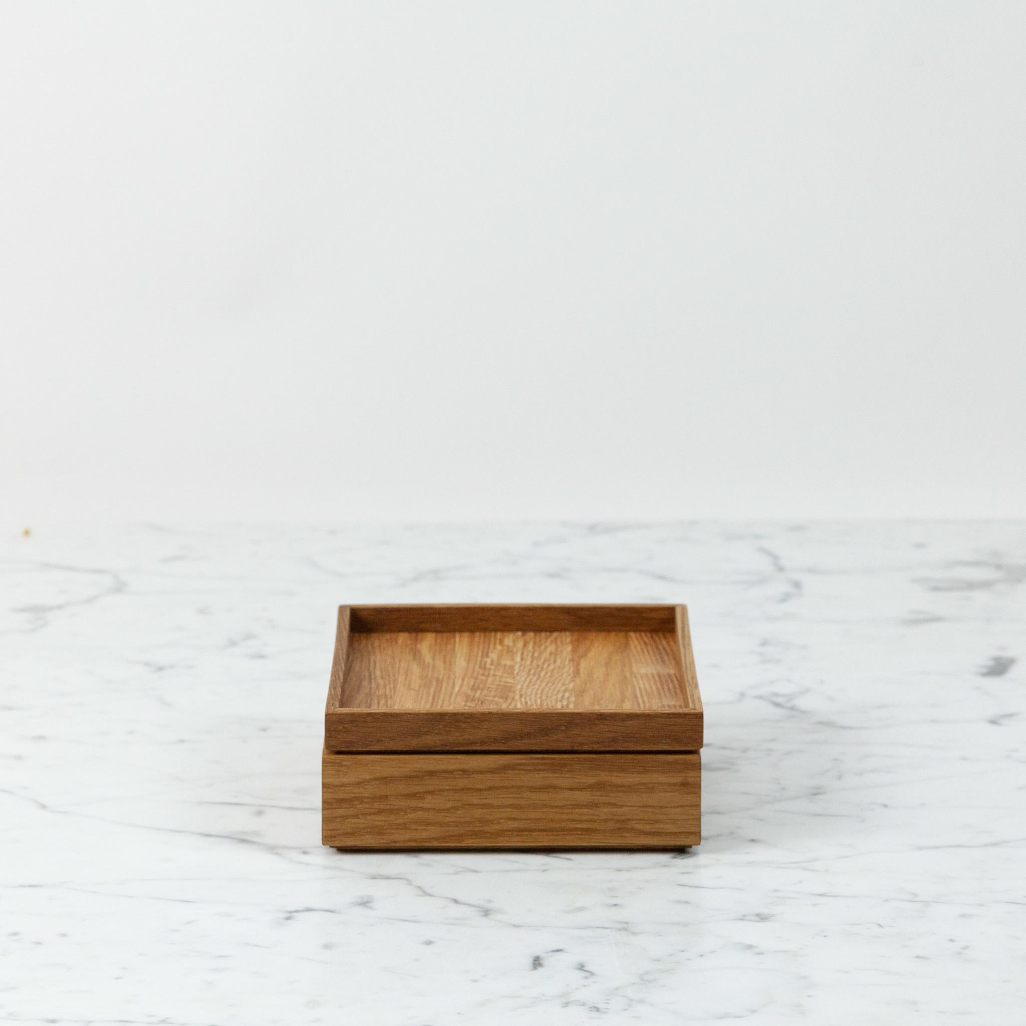 "Skagerak Oiled Oak Nomad Storage Box with Lid - Short - Oak - 5.5"""