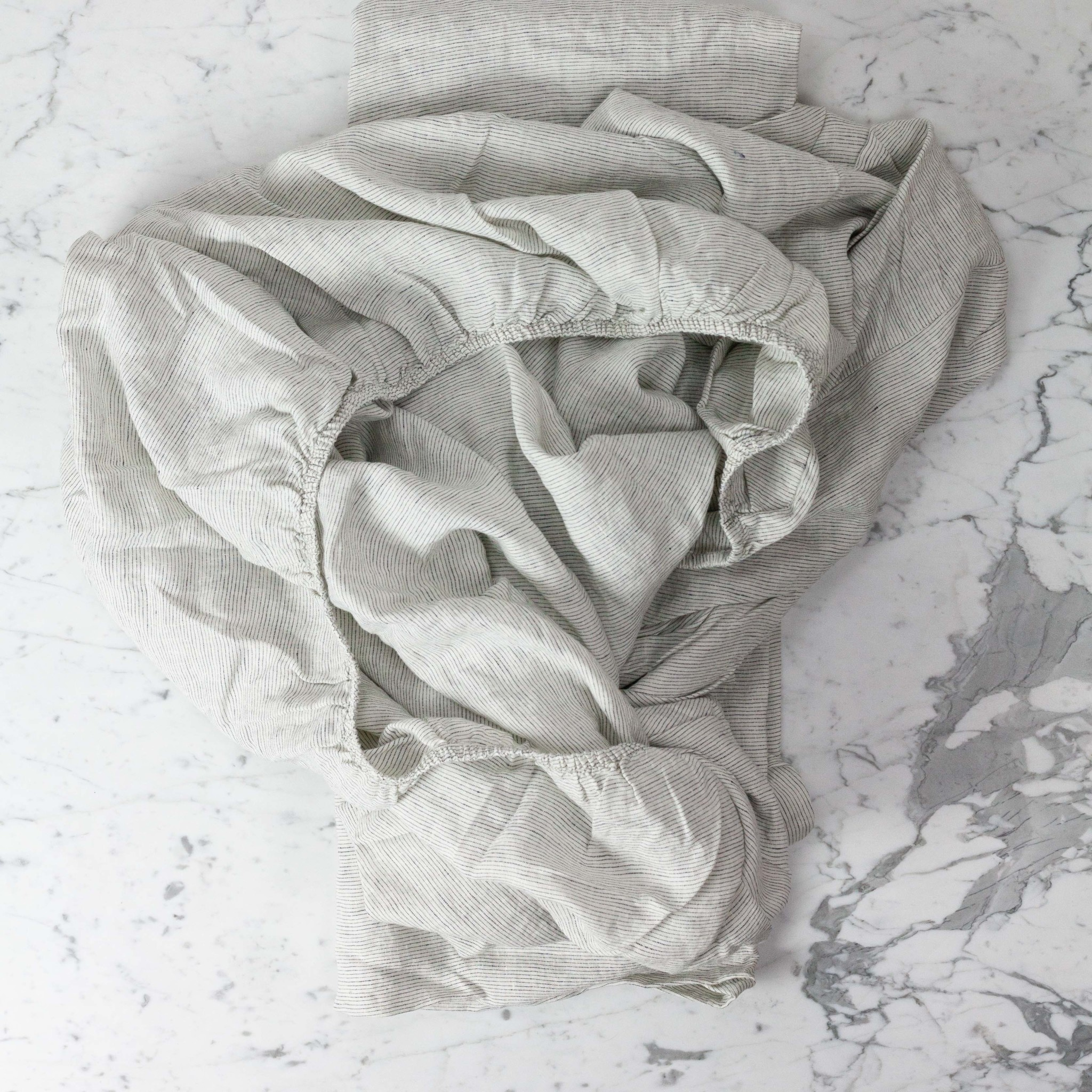 Complete Linen SHEET Set - King - Pinstripe - Flat, Fitted, 2 Pillowcases