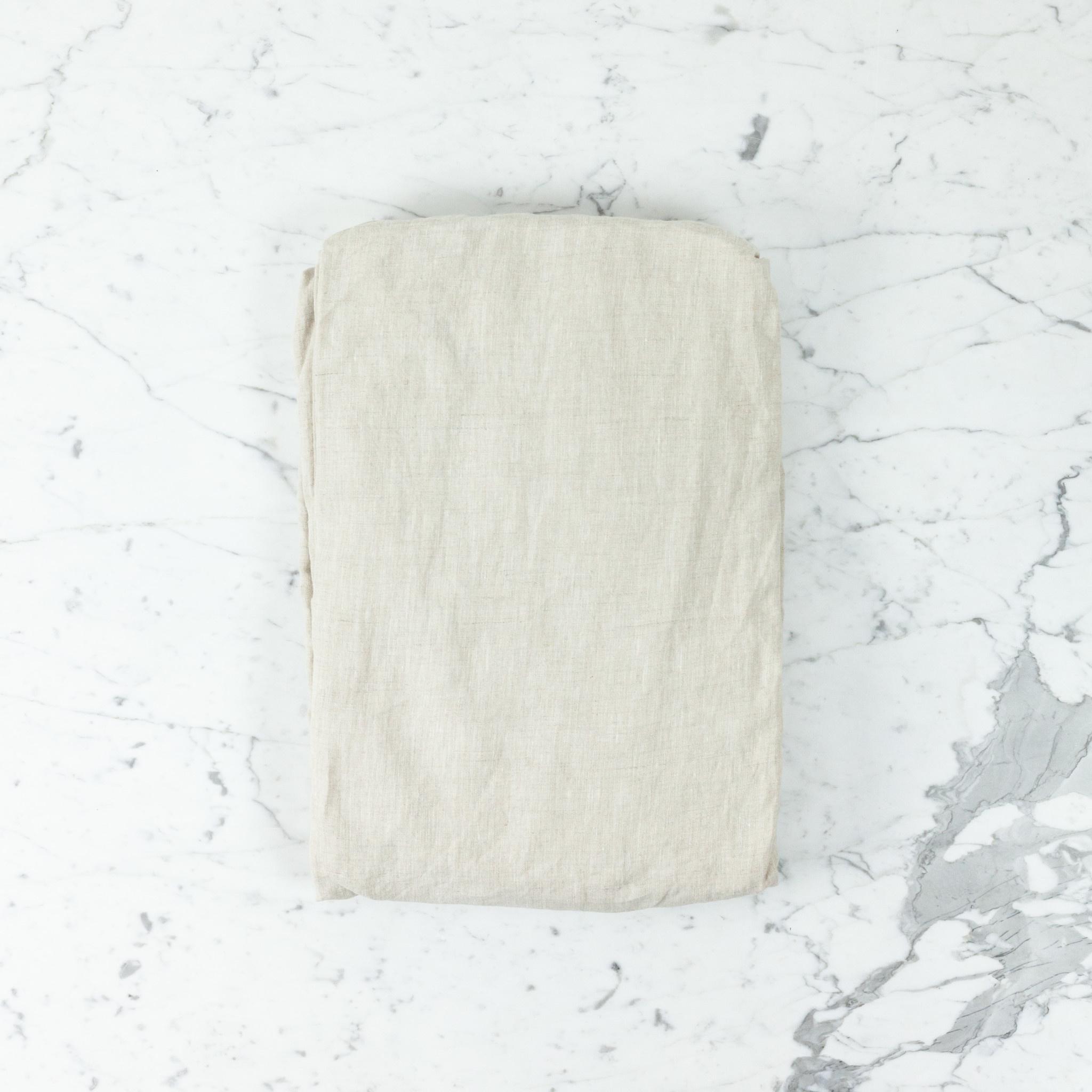 Complete Linen SHEET Set - Queen - Natural - Flat, Fitted, 2 Pillowcases