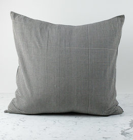 "TENSIRA 32 x 32"" - Handwoven Cotton Pillow with Down Insert - Envelope Closure - Black + White Gingham"