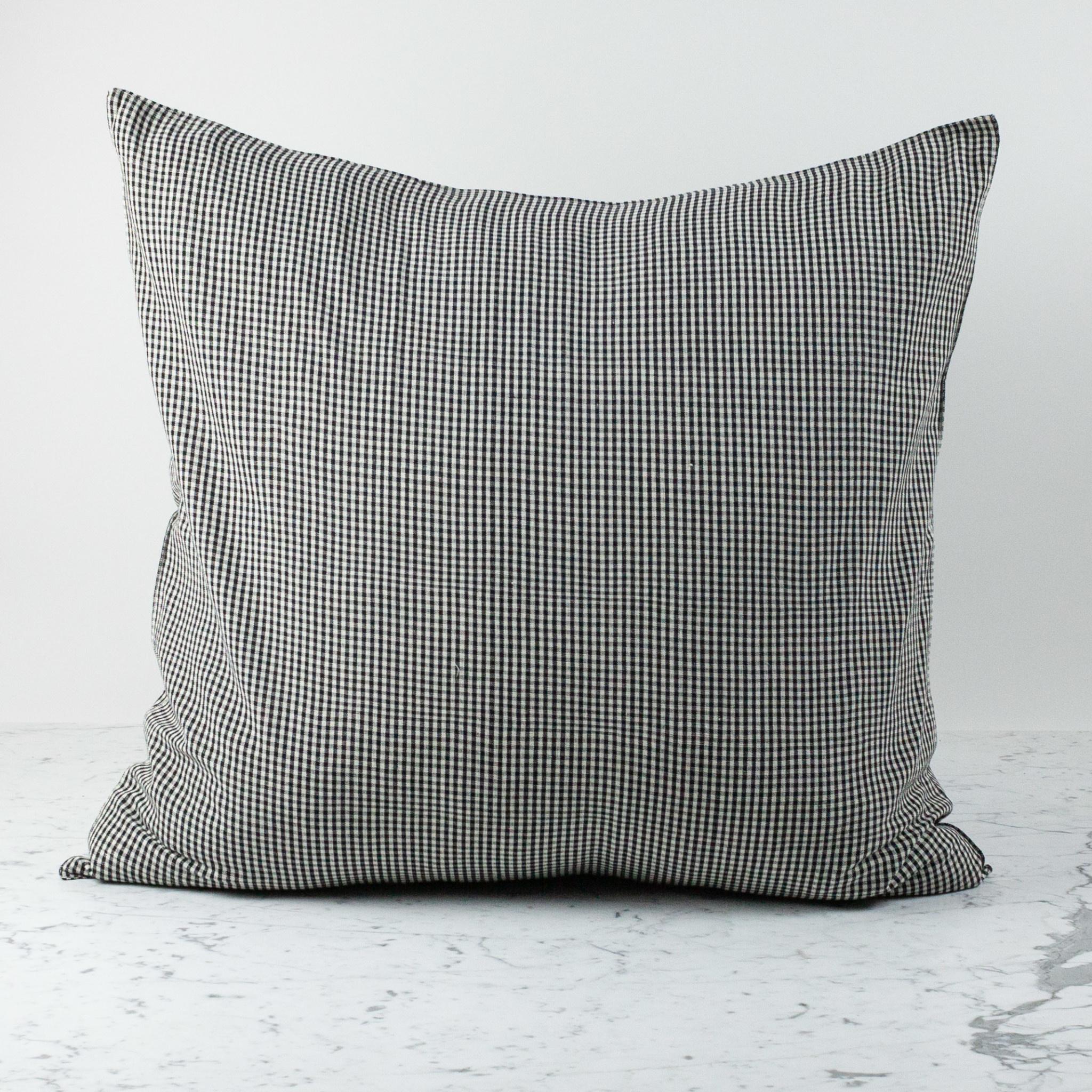 "TENSIRA 32 x 32"" - Handwoven Cotton Pillow with Down Insert - Envelope Closure - Black + White Gingham"