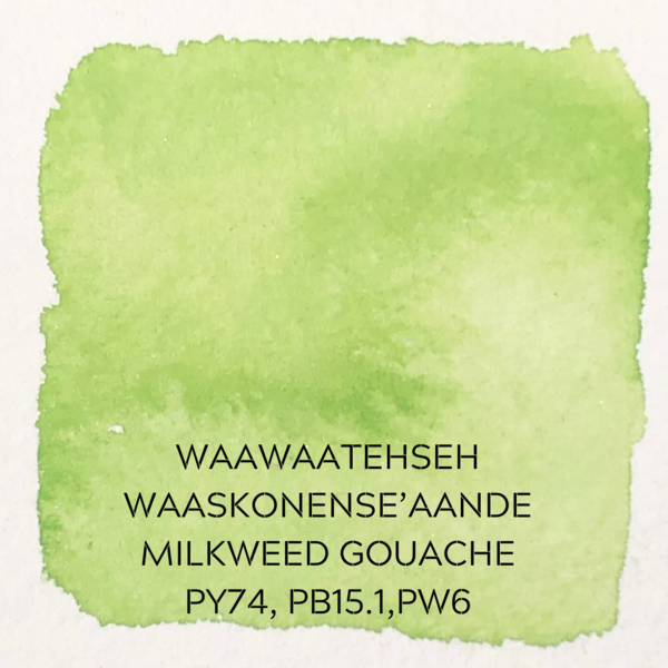 Beam Paints Natural Pigment Handmade Watercolor Paintstones - #12 Mememgwanh Waaskoneh'aande Milkweed Green Gouache - Individually Wrapped