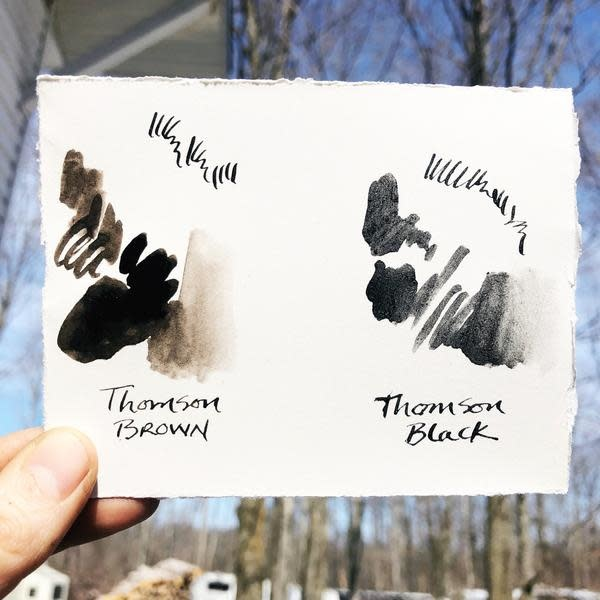 Beam Paints Natural Pigment Handmade Watercolor Ink - Thompson Pine Black - Glass Jar