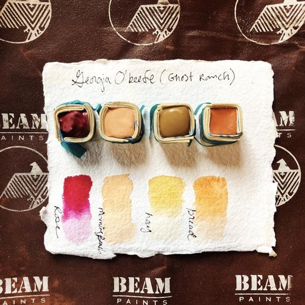 Beam Paints Natural Pigment Handmade Watercolor Paint - Georgia O'Keefe Palette - Ghost Ranch - 4 Colors