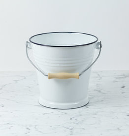 Enamel Bucket with Wood Handle - White - 5 Liter