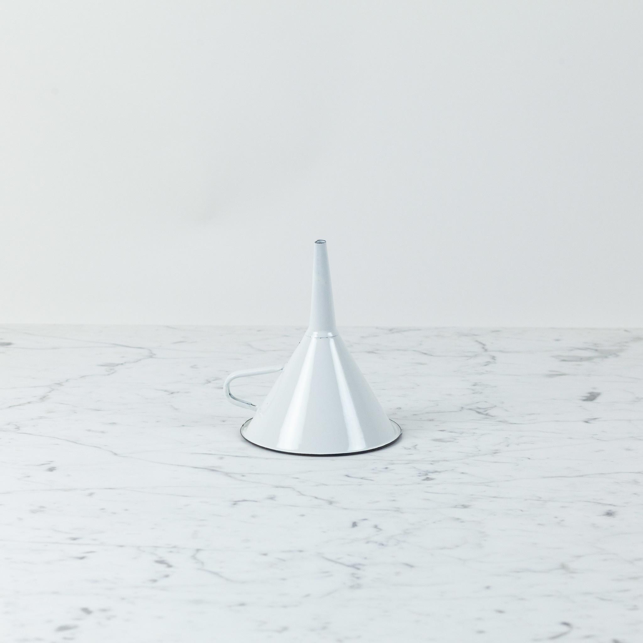 """Enamel Funnel - White - 5"""""""