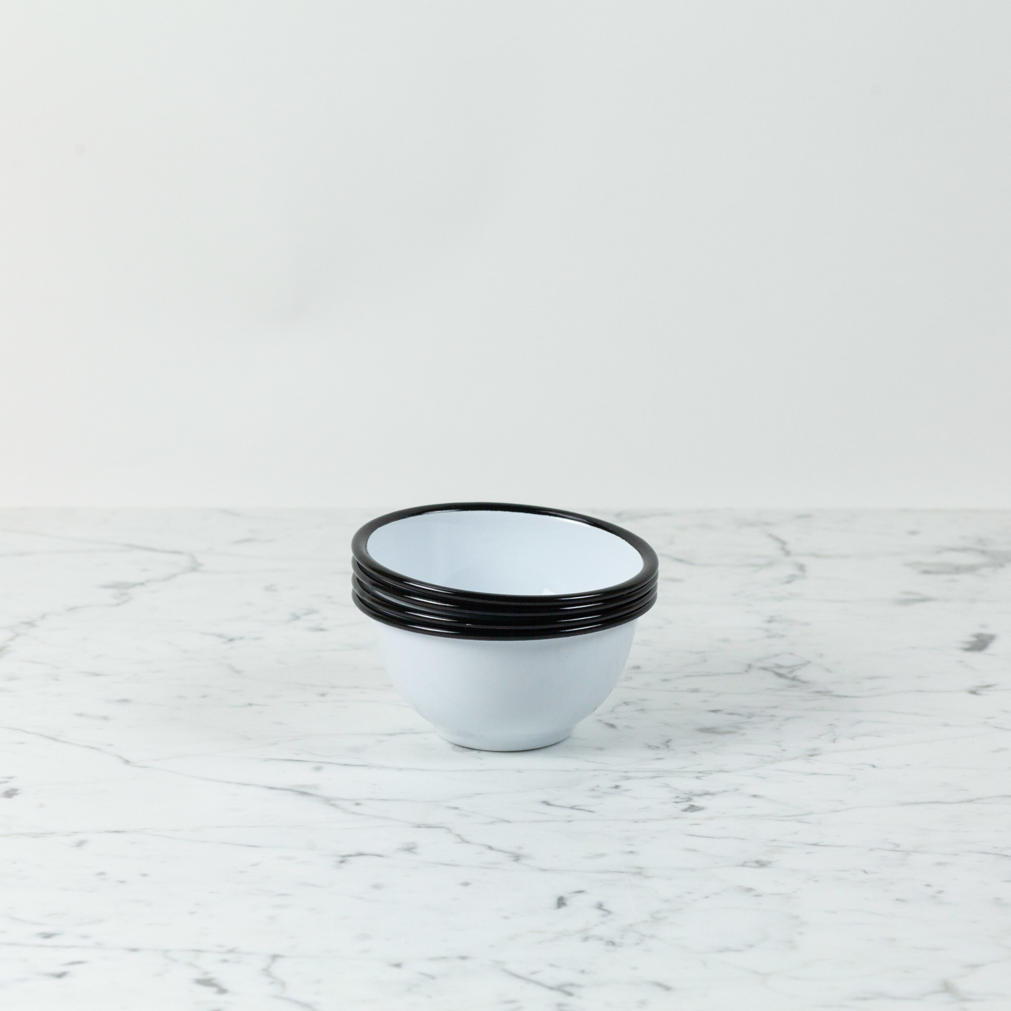 Black + White Enamel Bowl - Small - 16 oz