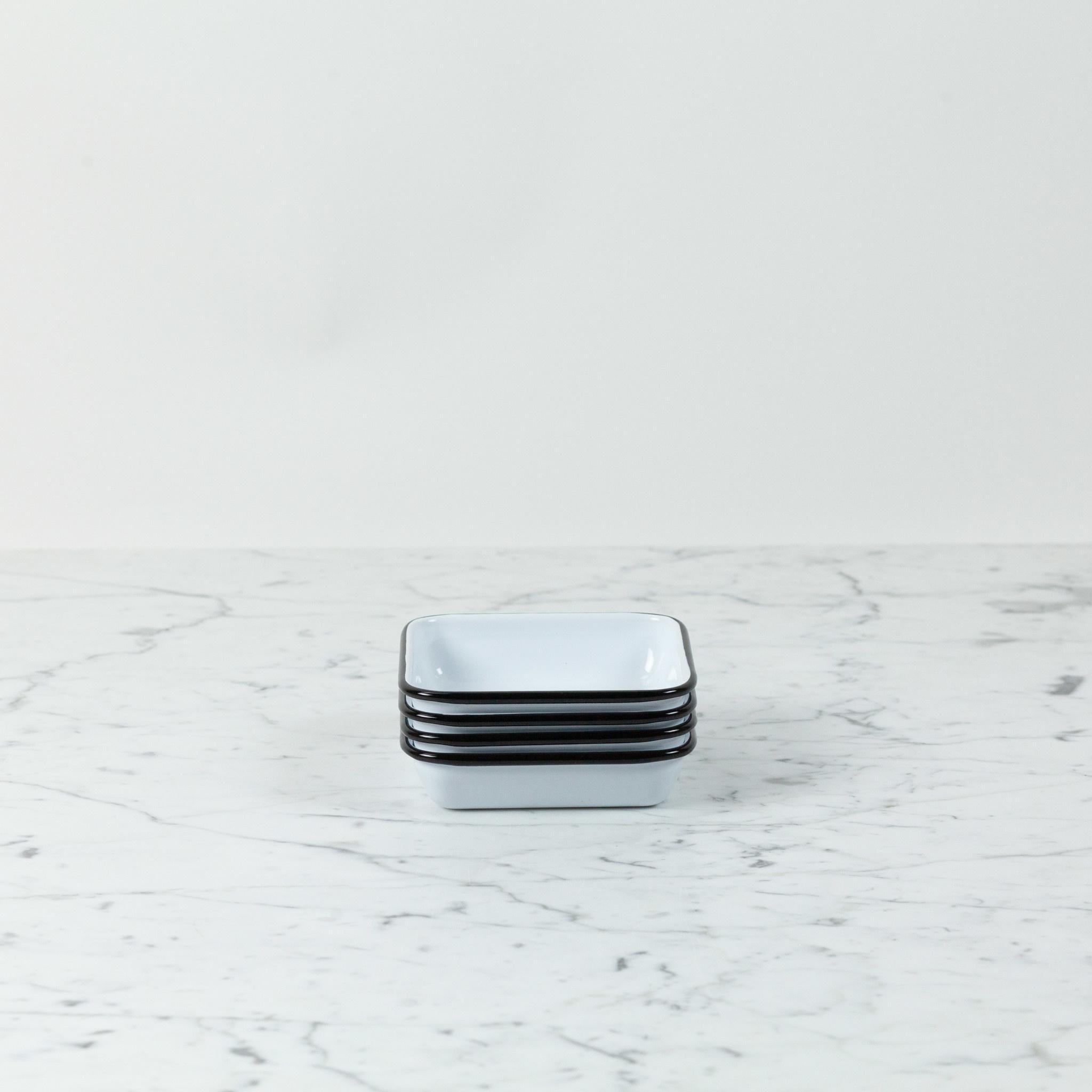 "Black + White Enamel Small Square Tray - 4.75"""