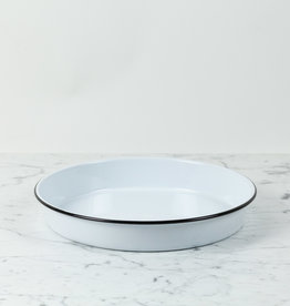Black + White Enamel Deep Round Baking Dish or Serving Tray - 12""